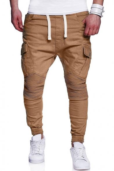Mens Cool Drawstring Waist Knee Pleated Detail Skinny Fit Cargo Pants Pencil Pants