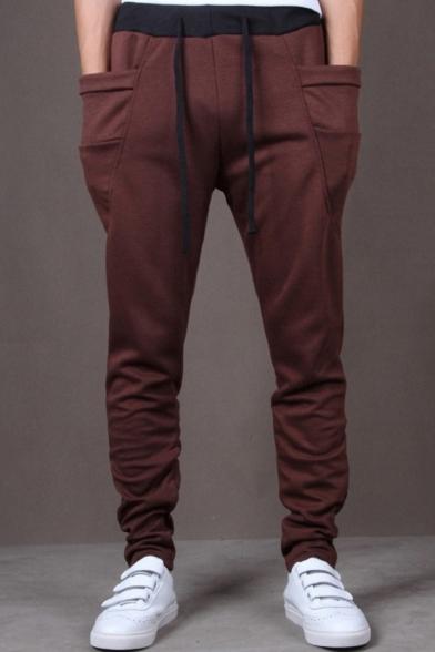 Mens Cool Unique Large Pocket Drawstring Waist Simple Plain Joggers Sweatpants
