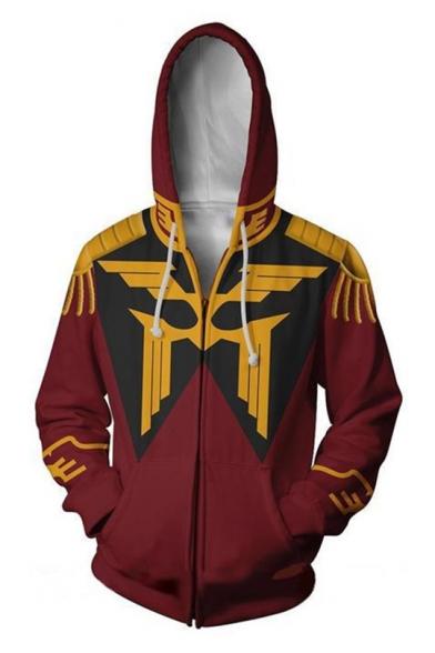 Mobile Suit Gundam 3D Printed Comic Cosplay Costume Zip Up Burgundy Hoodie