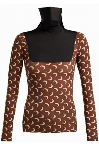 New Stylish Allover Moon Printed Long Sleeve Slim Fit Coffee T-Shirt