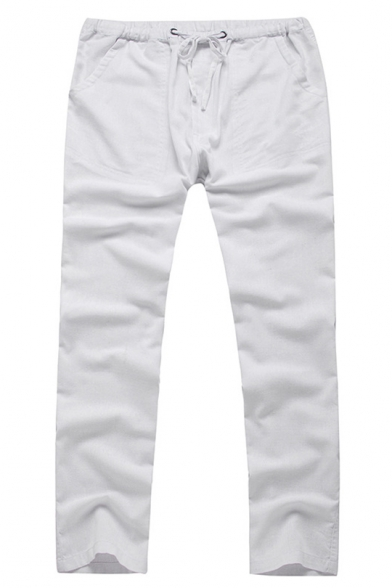 New Stylish Basic Plain Drawstring-Waist Cotton Loose Straight-Leg Lounge Pants for Men