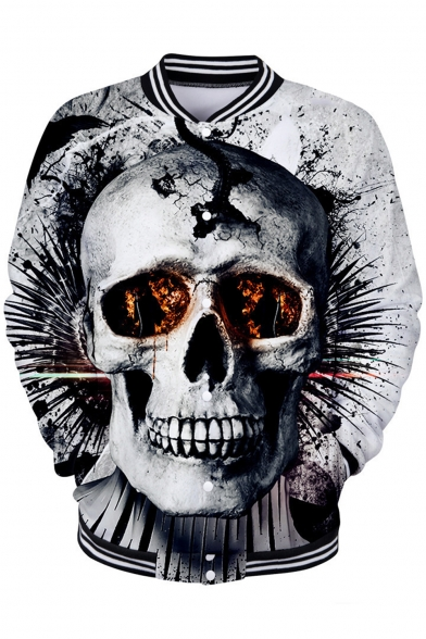 New Stylish Unique 3D Skull Printed Stand-Collar Long Sleeve Button-Down Baseball Jacket