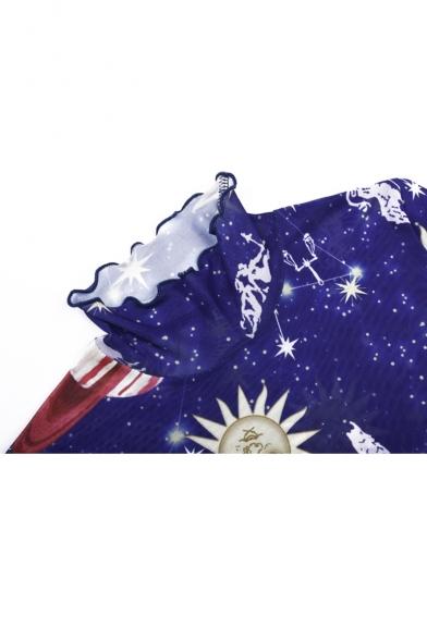 New Trendy Fashion Galaxy Moon Star Print High Neck Short Sleeve Mini Mesh Sheath Dress