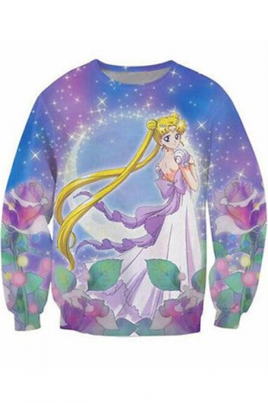 Sailor Moon Fashion 3D Galaxy Printed Basic Long Sleeve Regular-Fit Blue Sweatshirt