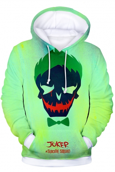 Suicide Squad Cool Clown Skull Print Long Sleeve Casual Loose Light Green Hoodie