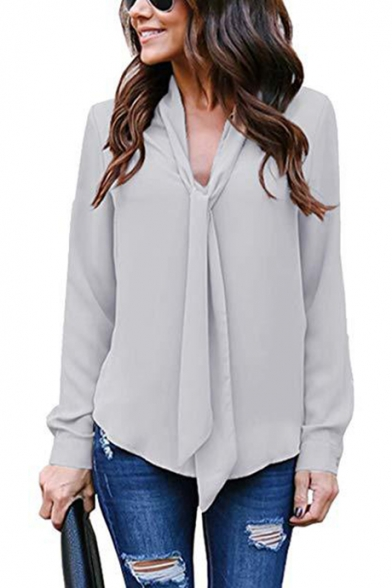 Womens Graceful Simple Plain V-Neck Long Sleeve Casual Loose Chiffon Blouse