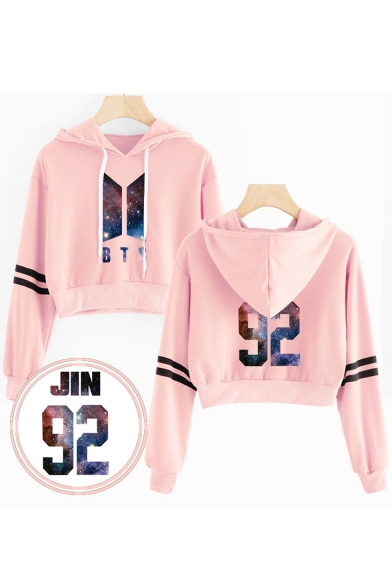 Fashion Galaxy Logo Printed Long Sleeve Cropped Pullover Loose Hoodie