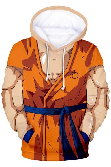Dragon Ball Goku Cool 3D Muscle Pattern Long Sleeve Khaki Pullover Hoodie