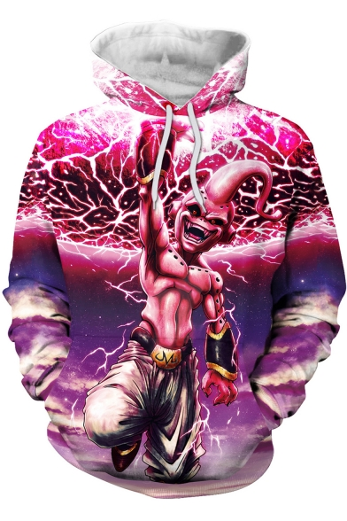 New Stylish Cool 3D Comic Character Print Relaxed Fit Pink Hoodie