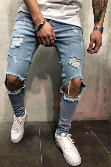 Guys Cool Damage Knee Cut Ripped Slim Fit Jeans with Holes