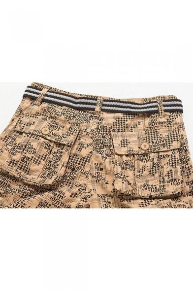 Guys Hip Hop Style Allover Letter Printed Ribbon Hem Cotton Cargo Shorts