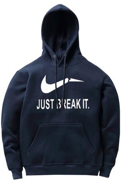 JUST BREAK IT Logo Printed Long Sleeve Loose Casual Hoodie