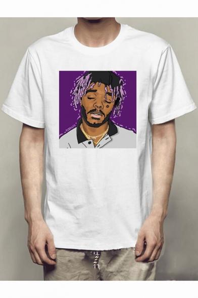 Popular American Rapper Figure Printed Short Sleeve Modal White T-Shirt