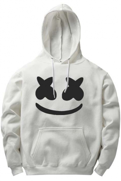 Marshmello Smile Face Printed Long Sleeve Casual Loose Hoodie