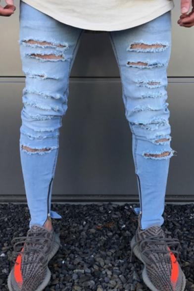 Men Hip Hop Fashion Zip Side Embellished Light Blue Ripped Skinny Fit Jeans
