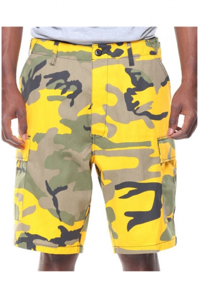 Men's New Stylish Unique Camouflage Printed Flap-Pocket Side Hip Hop Street Fashion Cotton Cargo Shorts