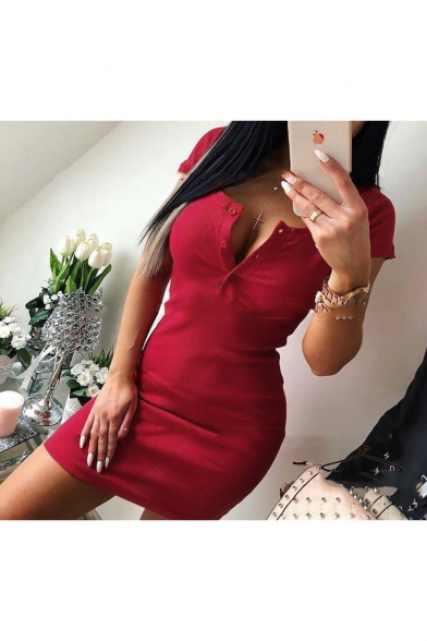 New Stylish Button Front Scoop Neck Short Sleeve Solid Color Mini Bodycon Dress