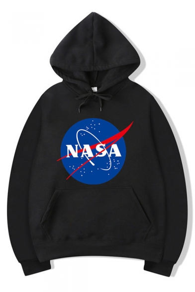 New Stylish Letter NASA Printed Long Sleeve Graphic Unisex Hoodie