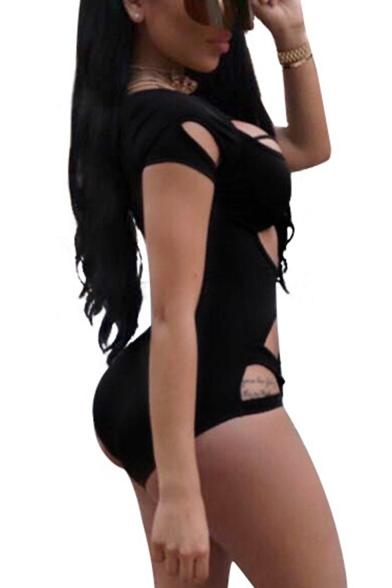New Stylish Simple Plain Cutout Sexy Slim Fit Black One-Piece Swimwear