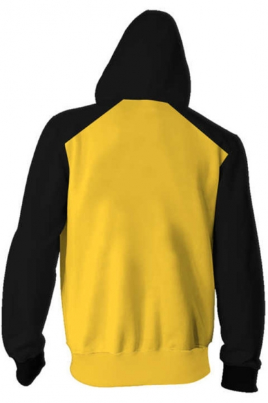 Fashion Colorblocked Cosplay Costume Long Sleeve Zip Front Yellow Hoodie