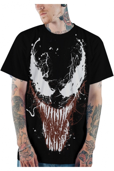Popular Venom Big Mouth Pattern Crewneck Short Sleeve Black Relaxed T-Shirt
