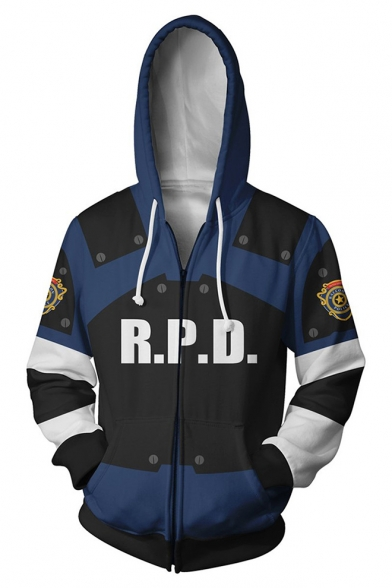 Resident Evil 3D Letter R P D Logo Print Comic Cosplay Costume Long Sleeve Blue Zip Up Hoodie