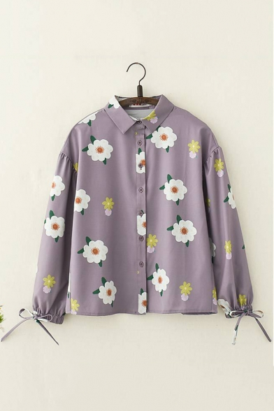 Retro Floral Pattern Drawstring Cuff Long Sleeve Button Down Purple Shirt