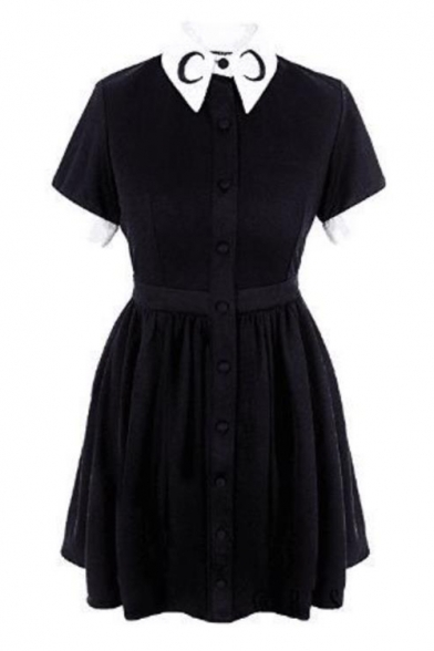 Simple Moon Printed Collar Short Sleeve Button Front Mini A-Line Pleated Black Dress
