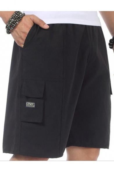 Summer New Trendy Simple Plain Elastic Waist Casual Loose Cargo Shorts