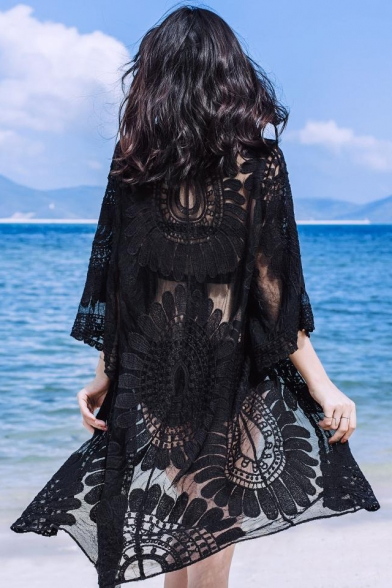 Women's Summer New Fashion Holiday Lace Mesh Longline Sun Cardigan
