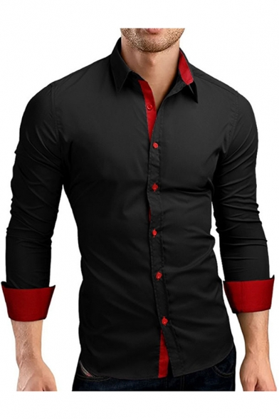 Basic Long Sleeve Simple Plain Men's Slim Fitted Button-Up Shirt