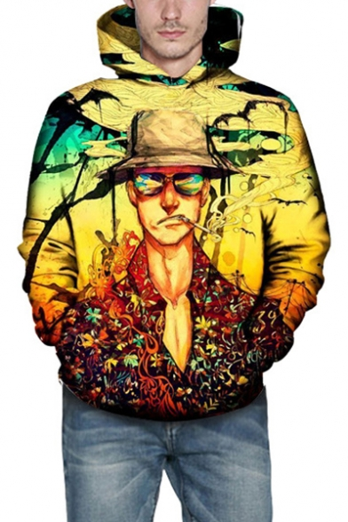 Fear and Loathing in Las Vegas 3D Character Printed Yellow Drawstring Hoodie