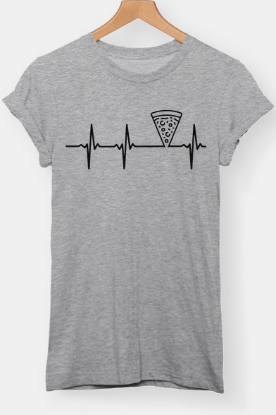 Funny Electrocardiogram Pizza Printed Basic Simple Short Sleeve Loose T-Shirt
