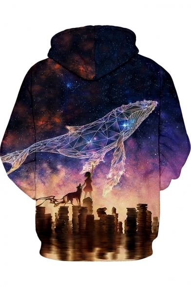 Galaxy Dolphin 3D Printed Loose Relaxed Purple Hoodie