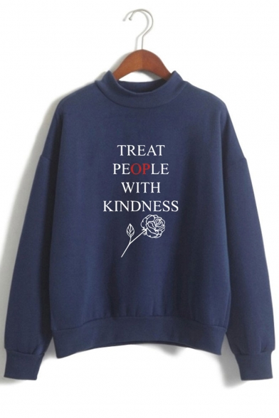 Harry Styles Treat People With Kindness Mock Neck Long Sleeve Pullover Sweatshirt