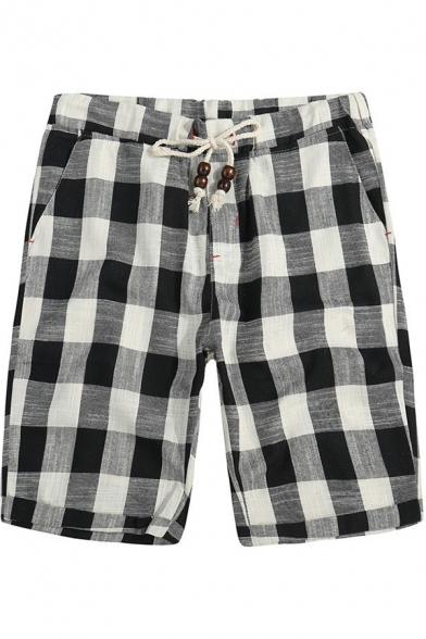 Men's Summer Casual Loose Plaid Print Beach Cotton Bermuda Shorts Relaxed Lounge Shorts