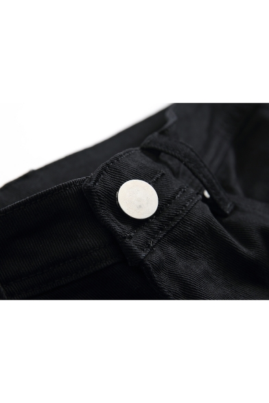 Mens Black Fashion Distressed Ripped Slim Fit Jeans
