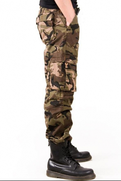 Mens Cool Outdoor Fashion Camoflage Print Cotton Casual Utility Pants Cargo Pants