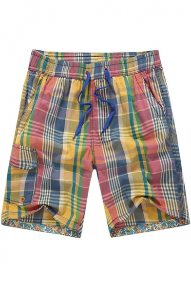 Mens Summer Quick Drying Colorful Plaid Elastic Waist Drawstring Cotton Male Swim Shorts with Pockets