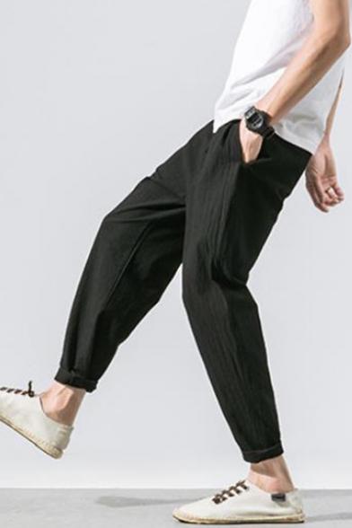 Mens Summer Simple Plain Drawstring-Waist Casual Loose Comfort Linen Carrot Fit Harem Pants Tapered Pants