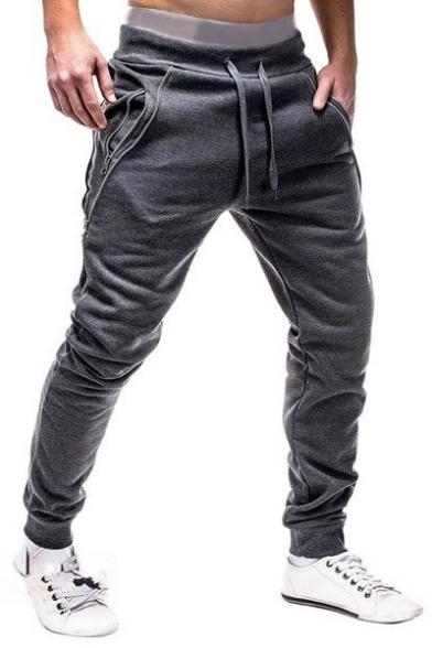 Mens Unique Zip Pocket Drawstring Waist Plain Casual Cotton Joggers Sweatpants