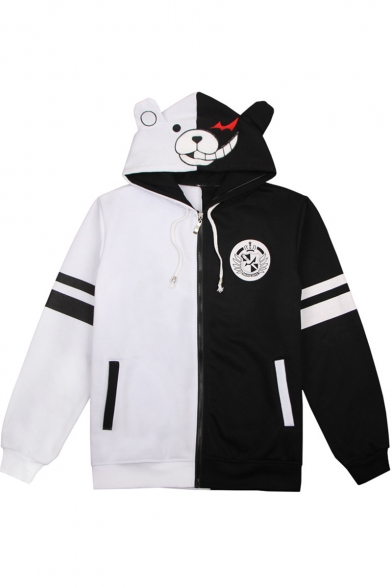 New Stylish Colorblock Cute Comic Print Long Sleeve Zip Up Black and White Hoodie
