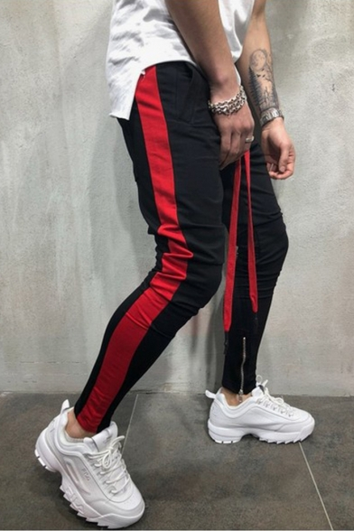 New Trendy Colorblocked Stripe Side Drawstring Waist Zip-Embellished Cuff Skinny Pencil Pants for Guys