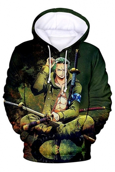 One Piece Trendy 3D Comic Roronoa Zoro Printed Long Sleeve Sport Casual Green Hoodie