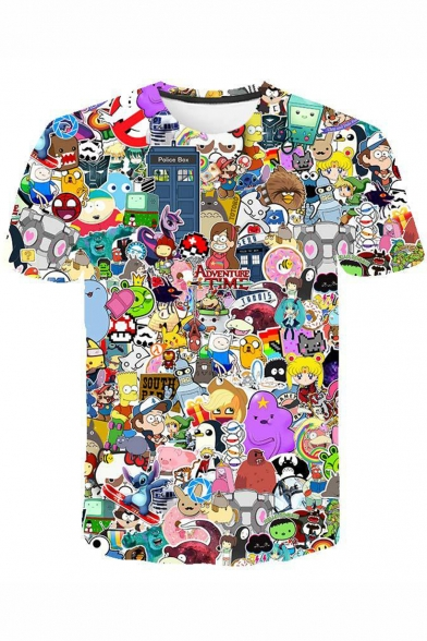 Pokemon Fashion 3D Comic Character Print Short Sleeve Casual Tee