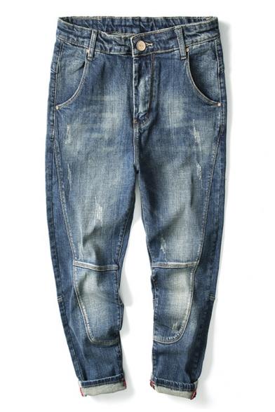 Retro Light Blue Washed-Denim Guys Loose Fit Harem Jeans
