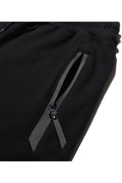 Street Fashion Simple Stripe Print Drawstring-Waist Athletic Sweat Shorts for Men