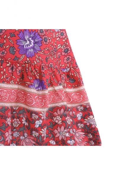 Women's Holiday Floral Printed Ruffled Hem Mini Swing Cami Dress