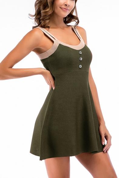 Womens Fashion Button-Embellished Front Simple Plain Mini A-Line Knit Cami Dress