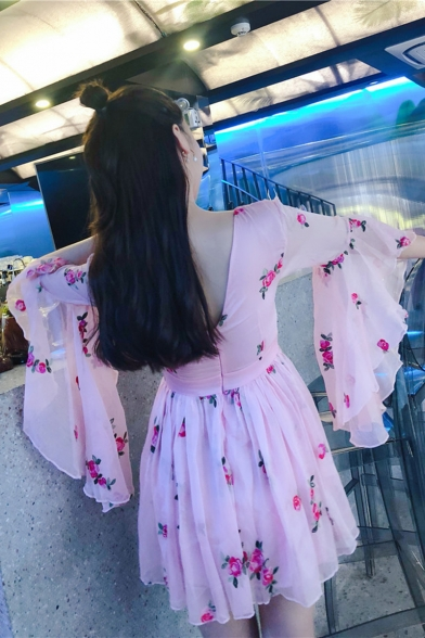 Womens New Trendy Floral Print Flared Sleeve Mini A-Line Pleated Pink Dress
